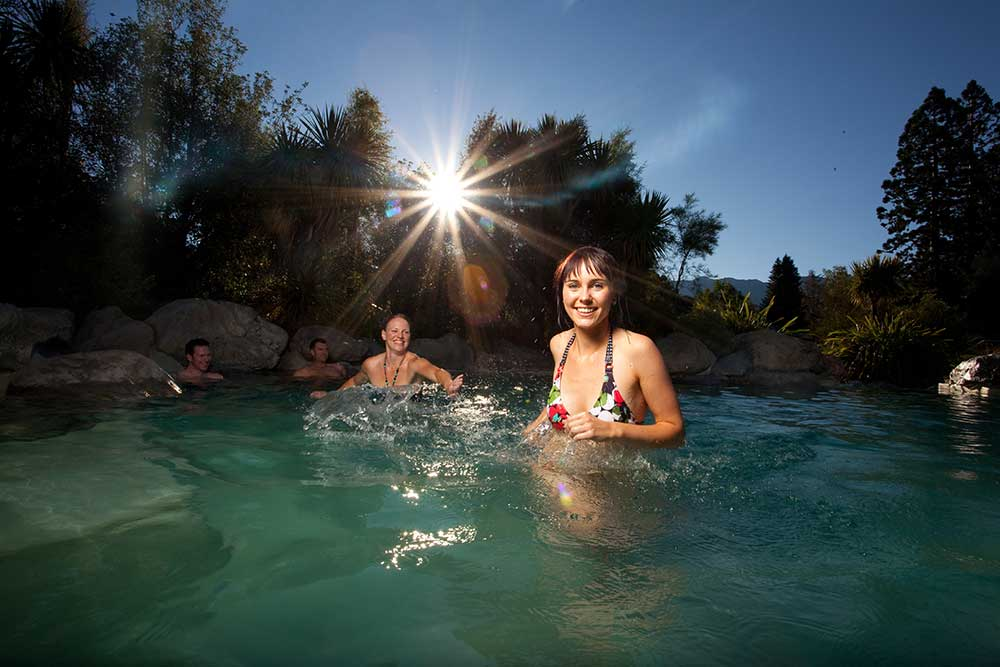 Copyright: Christchurch NZ. Hanmer Springs thermal pools at sunset