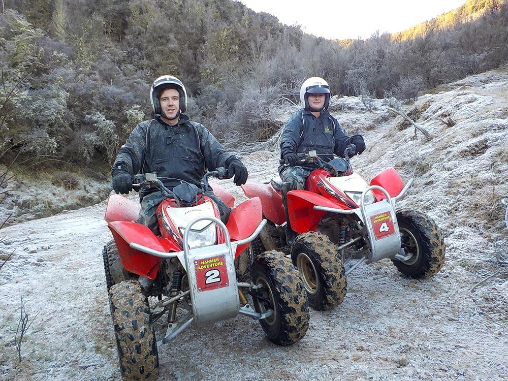 Couple on a winter quad bike tour