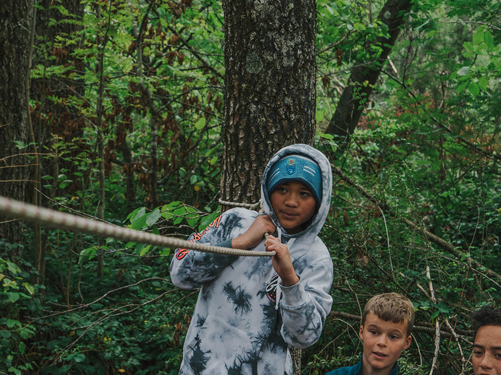 Low ropes activities for Hanmer school camps