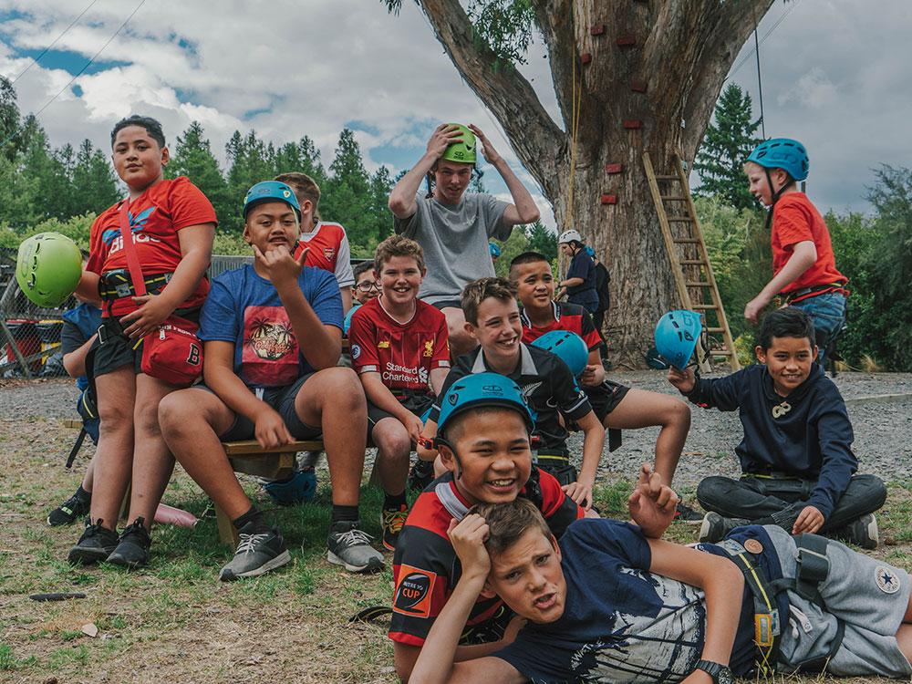 Happy children on school visit with Hanmer Adventure